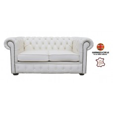 Chesterfield Two Seater Sofa 100% Genuine Leather Shelly White
