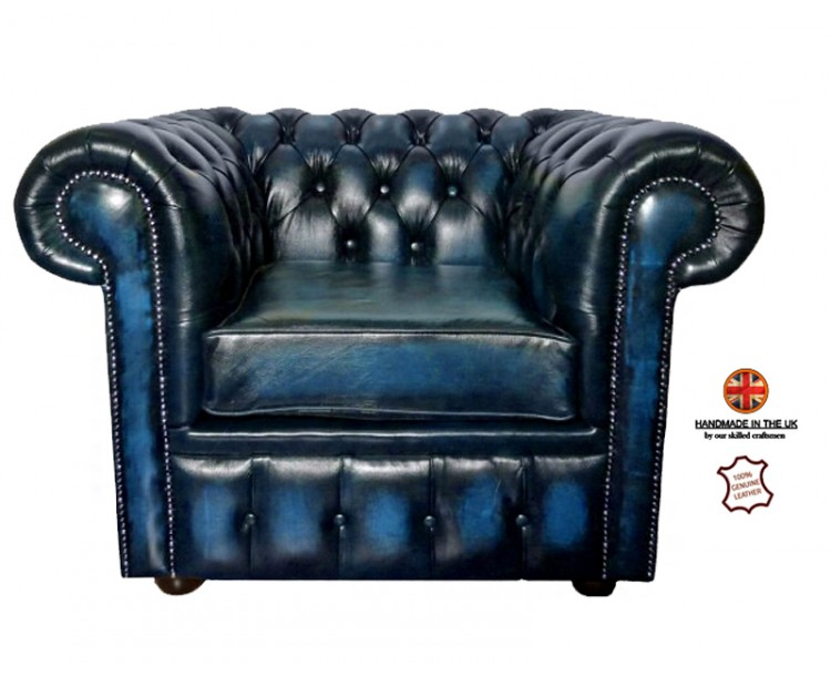 Chesterfield Club Chair 100% Antique Blue Genuine Leather