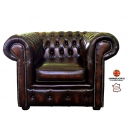 Chesterfield Club Chair 100% Genuine Leather Antique Brown