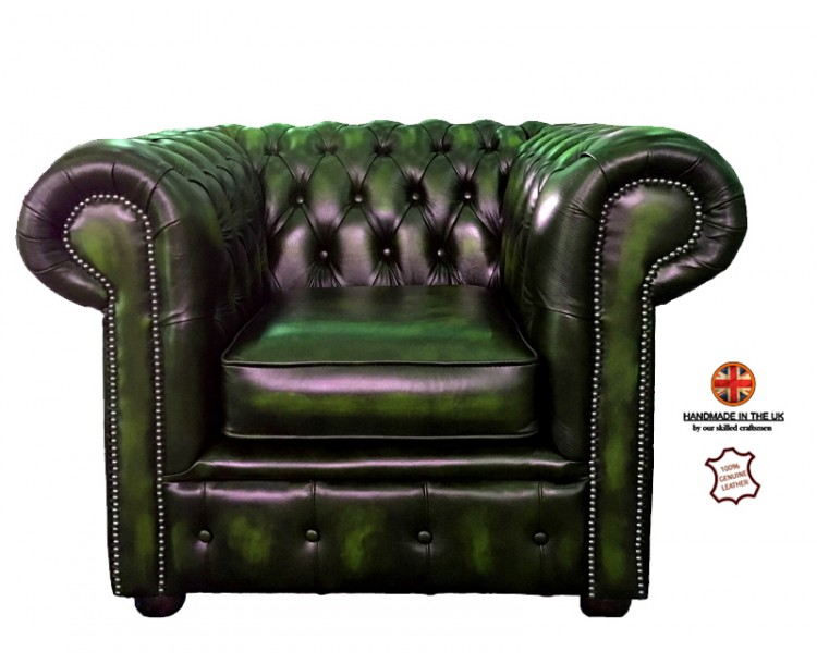Chesterfield Club Chair 100% Genuine Leather  Antique Green