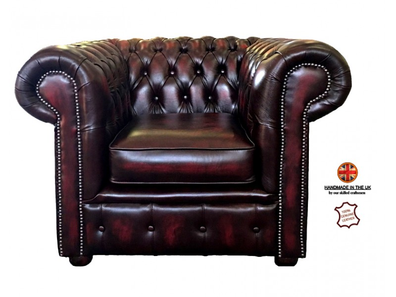 Delicieux Chesterfield Club Chair 100% Genuine Leather Antique Oxblood Red