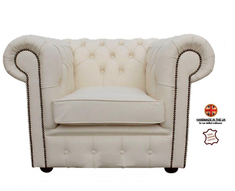 Chesterfield Club Chair 100% Genuine Leather Shelly White