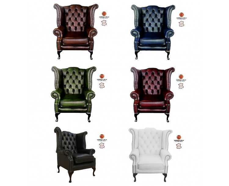 Chesterfield 100% Genuine Leather Queen Anne Chair Collection