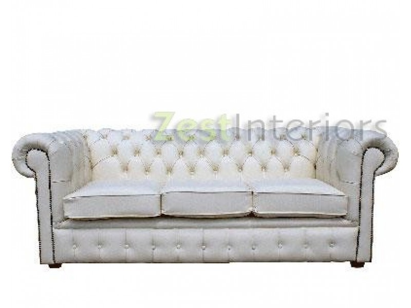 50% OFF; Chesterfield Three Seater Sofa Bed 100% Genuine Leather Shelly  White