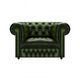Chesterfield Genuine Leather Club Button Seat Antique Green