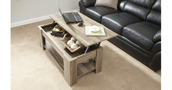 Julie Lift Up Storage Coffee Table In Walnut Living Room