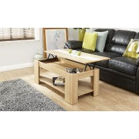 Alcott Lift Up Oak Coffee Table With Cream High Gloss Strip