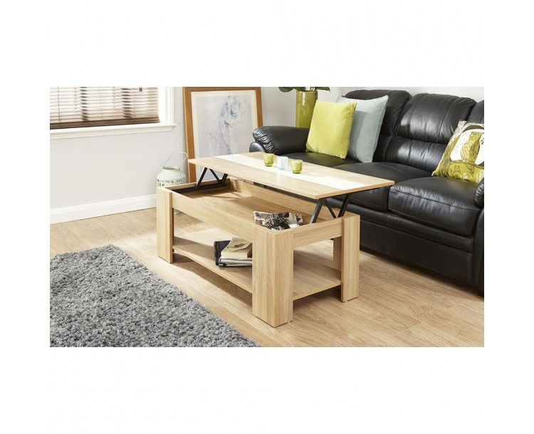 Alcott Lift Up Oak Coffee Table With Cream Gloss Strip