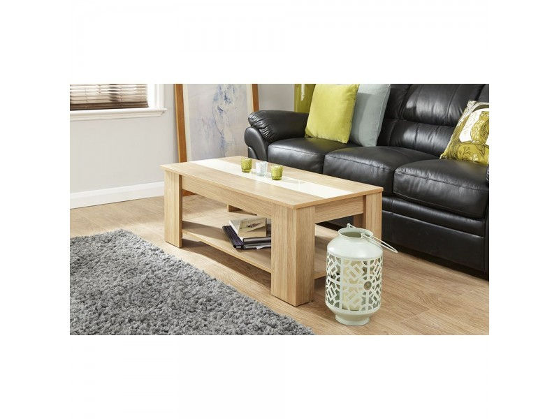 40% OFF; Alcott Lift Up Oak Coffee Table With Cream High Gloss Strip