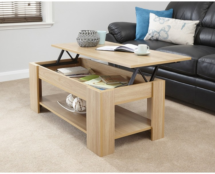 Julie lift up top coffee table in oak quality finish Groupon uk living room furniture