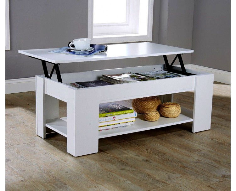 Julie Lift Up Top Coffee Table White Quality Finish