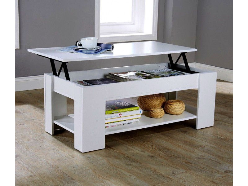 Julie lift up top coffee table white quality finish for White lift top coffee table