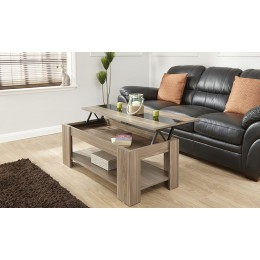 Alcott Lift Up Walnut Coffee Table With Black High Gloss Strip