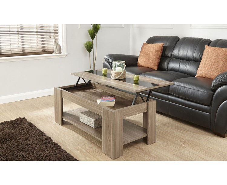Alcott Lift Up Walnut Coffee Table With Black Gloss Strip