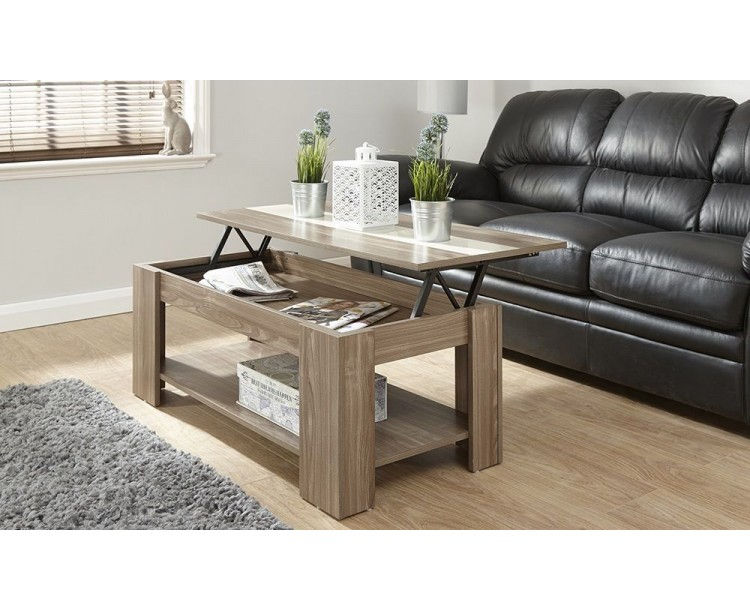 Alcott Lift Up Walnut Coffee Table With Cream Gloss Strip
