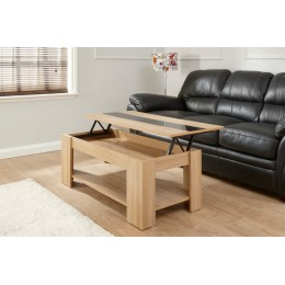 Living Room Oak Lift Up Coffee Table with Black Gloss Strip
