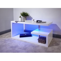 Post-Modern White High Gloss Polar LED Coffee Table