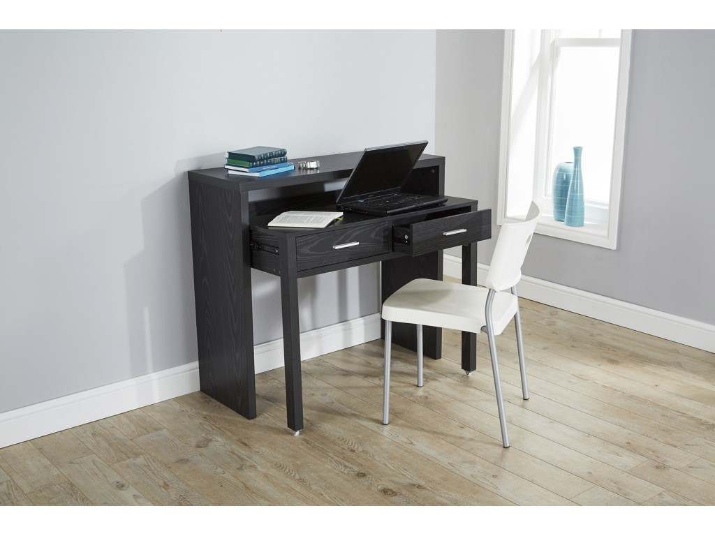 Regis Black Extending Modern Console Table Desk With Wheels