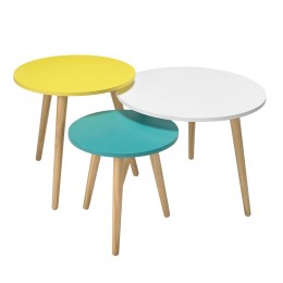Hove Set of 3 Tables Oak with Pastel Tops