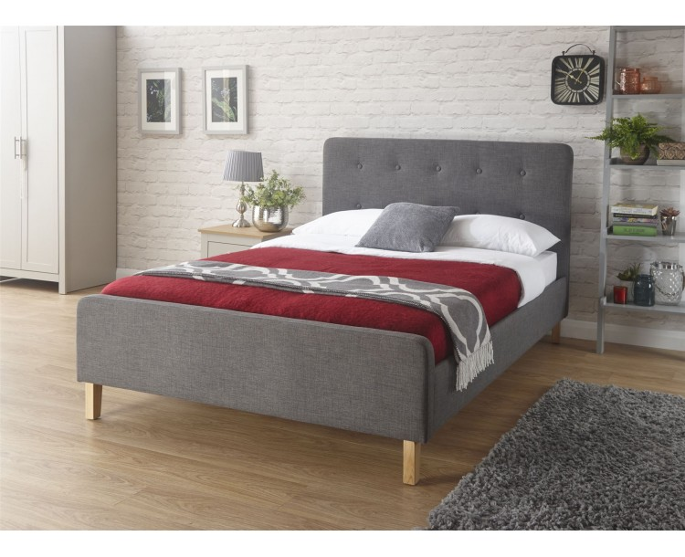 Grey Ashbourne 4ft6 Double 135cm Hopsack Fabric Bedstead