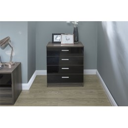 Melbourne 4 Drawer Chest Bedroom Furniture Black   Walnut