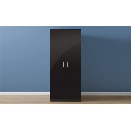 Melbourne 2 Door Plain Wardrobe Bedroom Furniture Black   Black