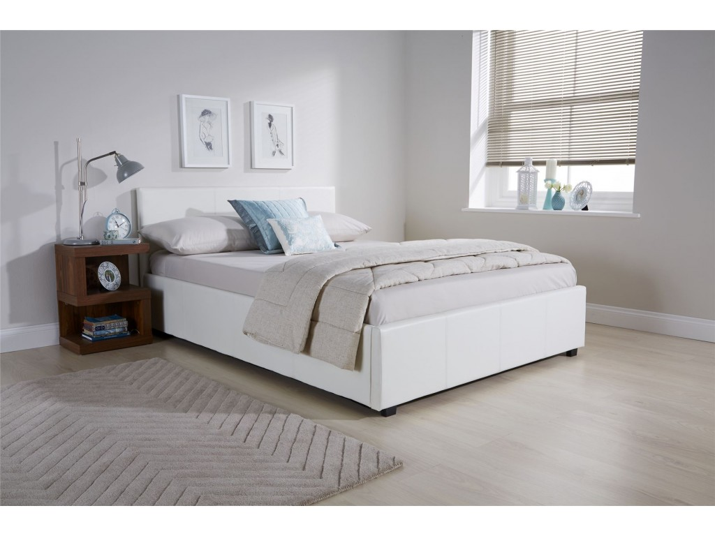 Awesome White Faux Leather Single 3Ft 90Cm Side Lift Ottoman Storage Bed Caraccident5 Cool Chair Designs And Ideas Caraccident5Info