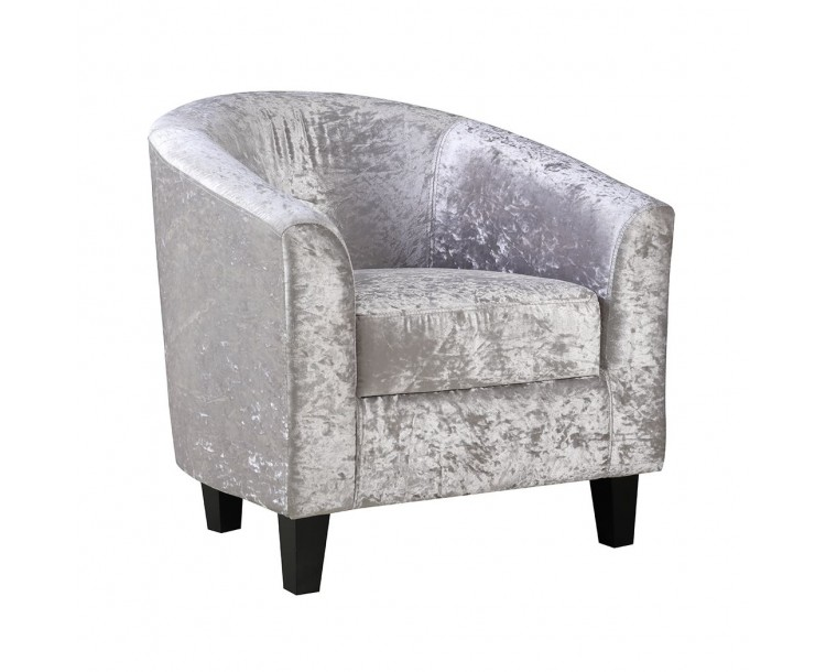 Crushed Velvet Silver Chic Tub Chair