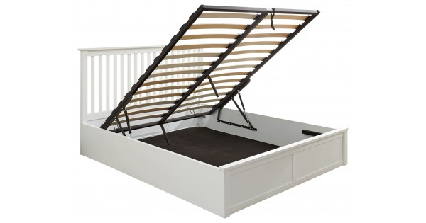 Como White 5ft Kingsize 150cm Lift Up Storage Wooden