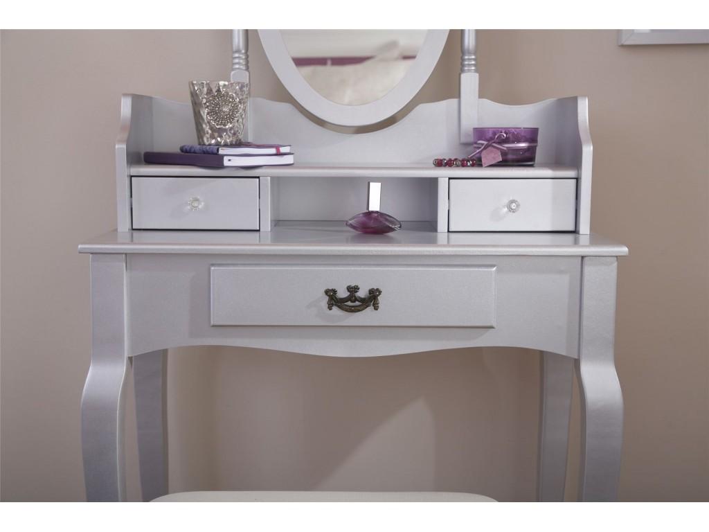 Silver Lumberton Mirror 3 Drawer Dressing Table Stool Set