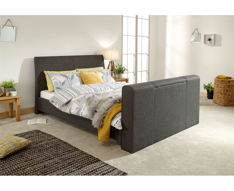 Brooklyn 5ft Kingsize 150cm Pneumatic TV Bed Charcoal Grey