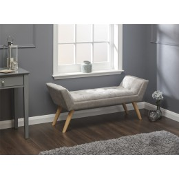 Milan Upholstered Bench Silver Chenille