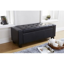 Verona Ottoman Bench Foot Stool Faux Leather Seat Box Black