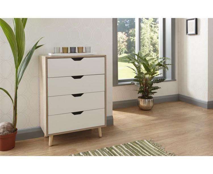 Stockholm 4 Drawer Chest Bedroom Furniture White Oak