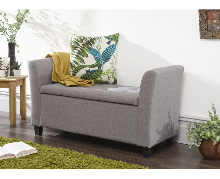 Verona Fabric Window Seat with Ottoman Storage Lift Up Grey