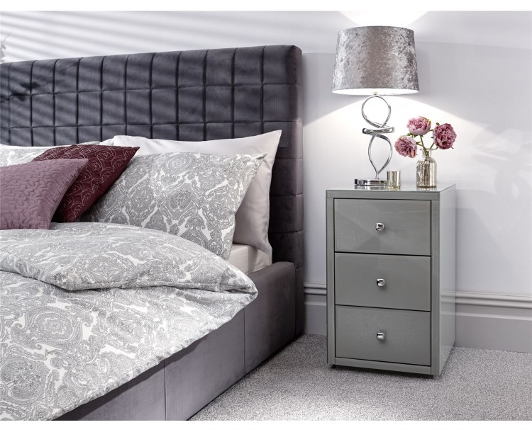 Amalfi 3 Drawer Bedside Table Cabinet Grey