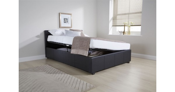 Black 120cm 4ft Small Double Side Lift Ottoman Storage Bed Frame