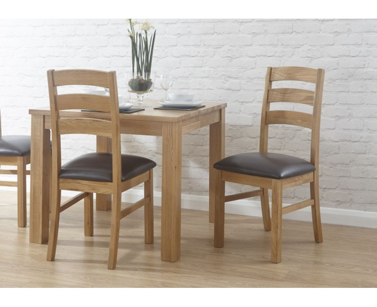 Cotswold Faux Leather Dining Chair in Oak Set of Two