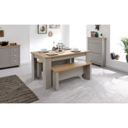 Contemporary Grey Lancaster Dining Table Set with Oak Top