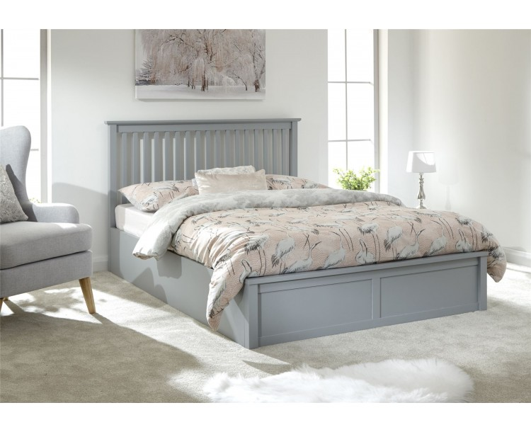 Modern Como Single 3FT 90cm Wooden Grey Lift Up Storage Ottoman Bed Frame