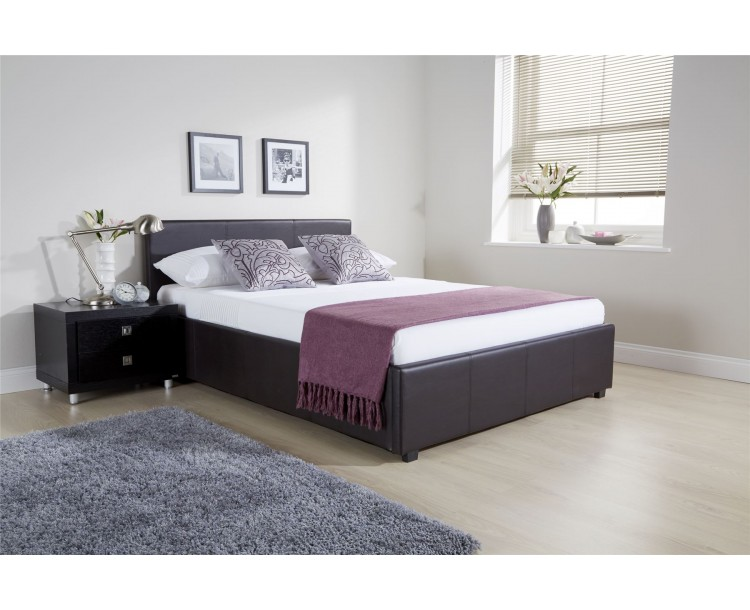 4ft Small Double Side Lift Ottoman Bed 120cm Bedframe Brown