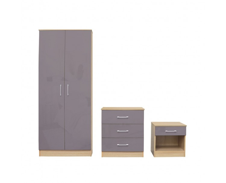 Dakota Bedroom Set Grey Wardrobe Bedside Chest