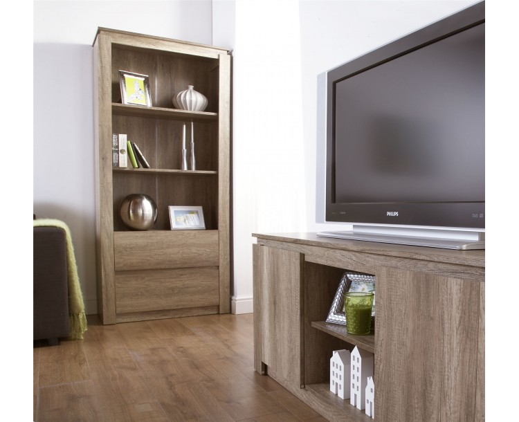 Canyon Grey Oak 2 Drawer And 3 Shelves Tall Bookcase Living Room Furniture