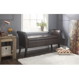 Balmoral Window Seat Brown Faux Leather Foot Stool