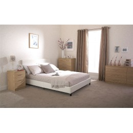 White Faux Leather 4ft6 Double 135cm Bed In A Box