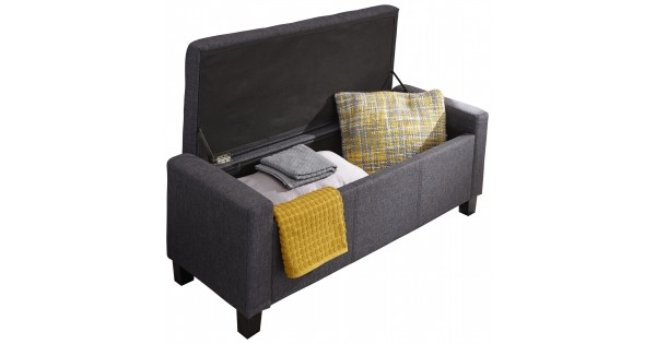 Ottomans Lucia Storage Chest Grey Fabric: Verona Charcoal Grey Hopsack Fabric Lift Up Ottoman