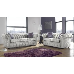 Chesterfield 3+2 Seat Deep Fill Fabric Living Room Sofa Set
