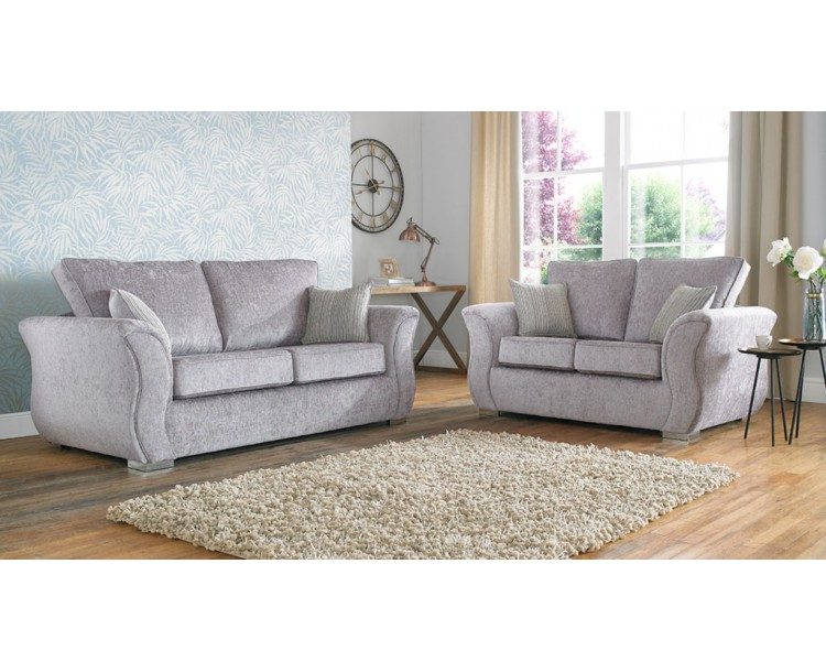 Regel Curved Grey Fabric Sofa Collection