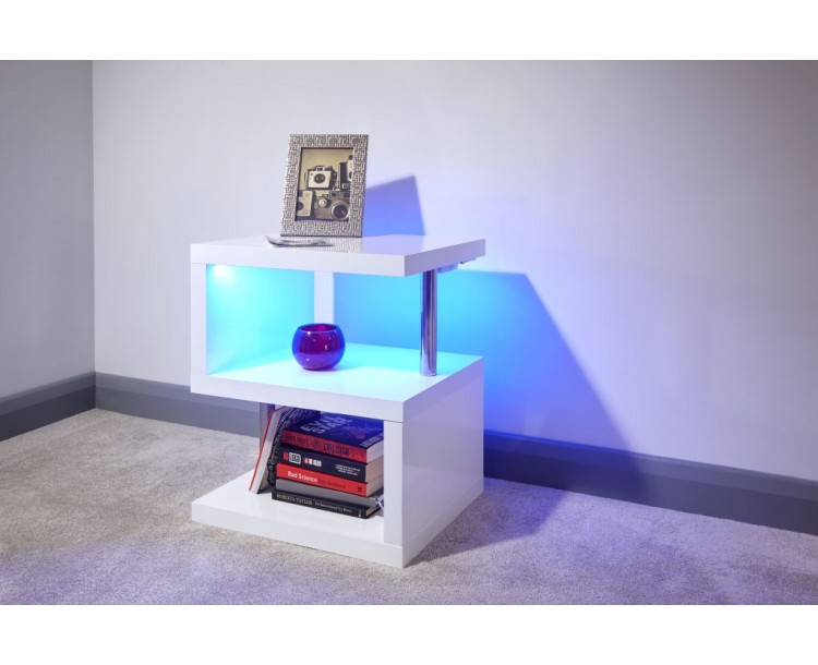 Contemporary White High Gloss Polar LED Lamp Table