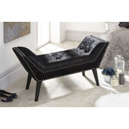 Marais Window Seat With Nailhead Trim Black Crushed Velvet